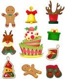 Conjunto de items de la Navidad Fotos de archivo