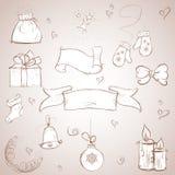 Conjunto de items de la Navidad bosquejo Imagenes de archivo