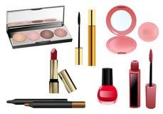 Conjunto de items del maquillaje Imagenes de archivo