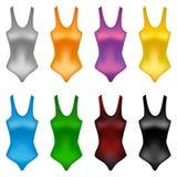 Conjunto de juegos de natación brillantemente coloreados Fotografía de archivo