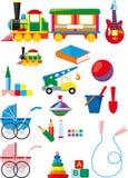 Conjunto de juguetes de los niños Imagenes de archivo