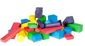 Conjunto de juguetes de madera de bloques Imágenes de archivo libres de regalías