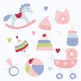 Conjunto de juguetes y de accesorios Foto de archivo libre de regalías