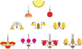 Conjunto de lámparas ilustración del vector