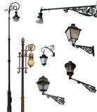 Conjunto de lámparas de calle retras con los caminos de recortes Imagen de archivo