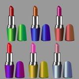 Conjunto de lápices labiales del color Lápiz labial rojo, lápiz labial rosado, lápiz labial anaranjado, lápiz labial del vino Ilustración del Vector