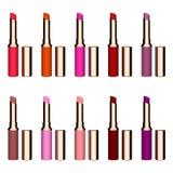 Conjunto de lápices labiales del color Lápiz labial rojo, lápiz labial rosado, lápiz labial anaranjado, lápiz labial del vino Láp Foto de archivo libre de regalías