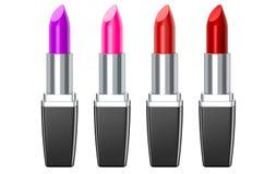 Conjunto de lápices labiales del color Lápiz labial rojo, lápiz labial rosado, lápiz labial del vino El lápiz labial rojo fijó en Fotografía de archivo libre de regalías