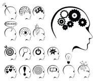 Conjunto de la actividad de cerebro y del icono de los estados Fotos de archivo libres de regalías