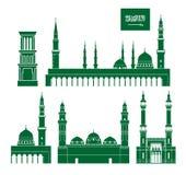 Conjunto de la Arabia Saudita Arquitectura aislada de la Arabia Saudita en el fondo blanco