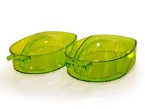 Conjunto de la bandeja de dos plásticos para la manicura. Foto de archivo libre de regalías