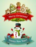 Conjunto de la bandera de la Navidad Foto de archivo libre de regalías