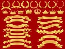 Conjunto de la bandera del oro Fotos de archivo