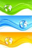 Conjunto de la bandera ondulada con el globo Fotos de archivo