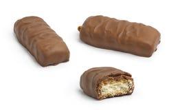 Conjunto de la barra de chocolate con caramelo Foto de archivo libre de regalías