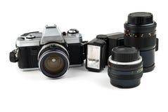 Conjunto de la cámara vieja imagen de archivo