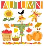 Conjunto de la caída del otoño stock de ilustración