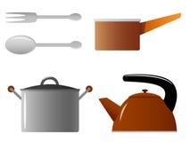 Conjunto de la caldera de la cazuela de la fork de la cuchara de los utensilios de cocina Foto de archivo
