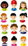 Conjunto de la cara de los niños de la historieta Imagen de archivo libre de regalías