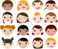 Conjunto de la cara de los niños de la historieta Fotografía de archivo