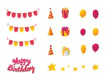 Conjunto de la celebración del cumpleaños Fotografía de archivo