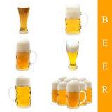 Conjunto de la cerveza Imagenes de archivo