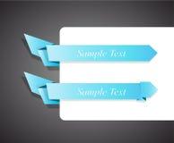 Conjunto de la cinta azul del origami para su texto. Foto de archivo