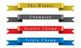 Conjunto de la cinta del campeón del ganador Imagen de archivo