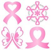Conjunto de la cinta del color de rosa del cáncer de pecho Imagen de archivo