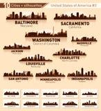 Conjunto de la ciudad del horizonte. 10 ciudades de los E.E.U.U. #3 ilustración del vector