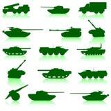 Conjunto de la colección de los tanques de armas Imagen de archivo libre de regalías