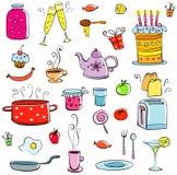 Conjunto de la comida y de las mercancías