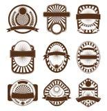 Conjunto de la cresta del emblema de la escritura de la etiqueta Fotografía de archivo