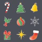 Conjunto de la decoración de la Navidad Fotos de archivo