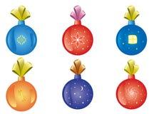 Conjunto de la decoración del Navidad-árbol Foto de archivo libre de regalías