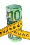 Conjunto de la economía del símbolo con el billete de banco euro Imagen de archivo libre de regalías