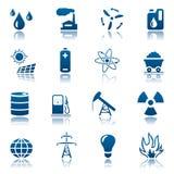 Conjunto de la energía y del icono del recurso Foto de archivo