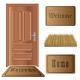 Conjunto de la estera de puerta stock de ilustración