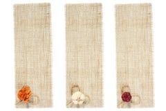 Conjunto de la etiqueta de la harpillera con la decoración Imágenes de archivo libres de regalías