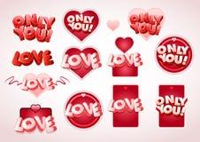 Conjunto de la etiqueta del amor Fotos de archivo libres de regalías