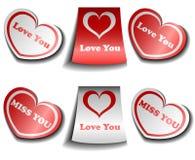 Conjunto de la etiqueta engomada de la tarjeta del día de San Valentín ilustración del vector