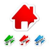 Conjunto de la etiqueta engomada de las propiedades inmobiliarias Imagen de archivo