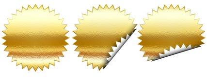 Conjunto de la etiqueta engomada de oro ilustración del vector