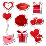 Conjunto de la etiqueta engomada del día de tarjetas del día de San Valentín Foto de archivo libre de regalías