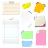 Conjunto de la etiqueta engomada del papel de nota Fotos de archivo libres de regalías