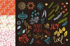 Conjunto de la Feliz Navidad stock de ilustración