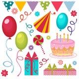 Conjunto de la fiesta de cumpleaños stock de ilustración