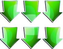 Conjunto de la flecha verde Imagen de archivo