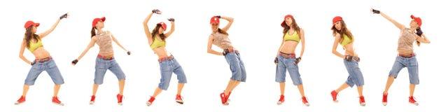 Conjunto de la foto de la muchacha atractiva del salto de la cadera Foto de archivo libre de regalías