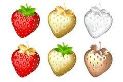 Conjunto de la fresa, aislado en blanco. Vector Imagenes de archivo